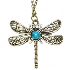 Libelle ketting turquoise